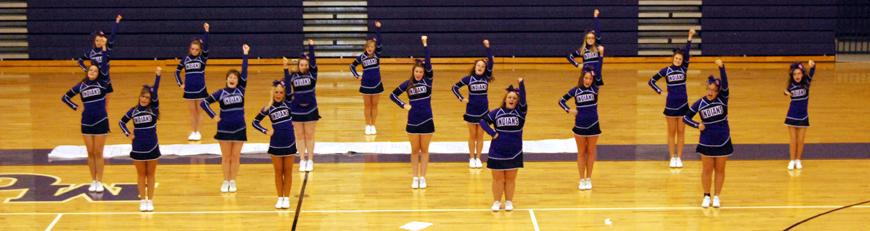 Cheerleaders at the Homecoming Pep Rally<br />
