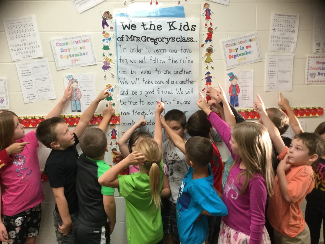 Mrs. Gregory's Class created a class constitution for their classroom.