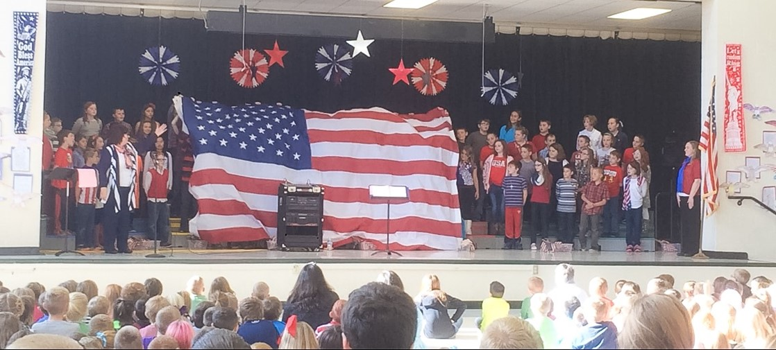 The 4th graders perform a Veterans Day concert, honoring our veterans.